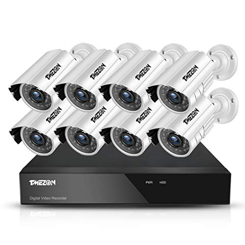 Dvr System Installation - TMEZON 8CH AHD 1080N Security DVR System Included 8 Bullet 1080P High 2.0MP CCTV Cameras(IP66 Weatherproof, Night Vision, Motion Detection & Email Alert)