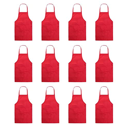 (Hi loyaya Total 12 Pcs Bulk Plain Color Bib Apron with 2 Pockets Painting Event Party BBQ Cooking Kitchen Aprons for Women Girls Adults Chef (12, Red))