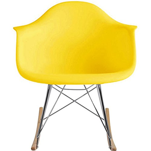 2xhome Eames Style Molded Modern Plastic Armchair - Contemporary Accent Retro Rocker Chrome Steel Eiffel Base - Ash Wood Rockers - Rocking Mid Century Style Lounge Arm Chair Matte Finish (Yellow) by 2xhome (Image #4)