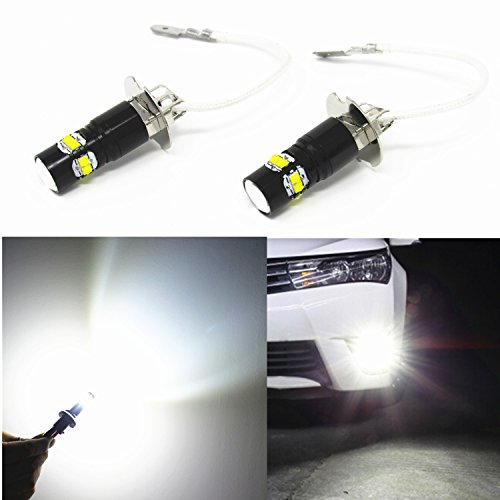 Alla Lighting H3 LED Fog Lights Bulbs Extremely Super Bright H3 LED Bulbs 6000K Xenon White LED H3 Bulb High Power 50W H3 12V LED Bulbs for Fog Light Lamps Replacement for Cars, Trucks, Motorcycles