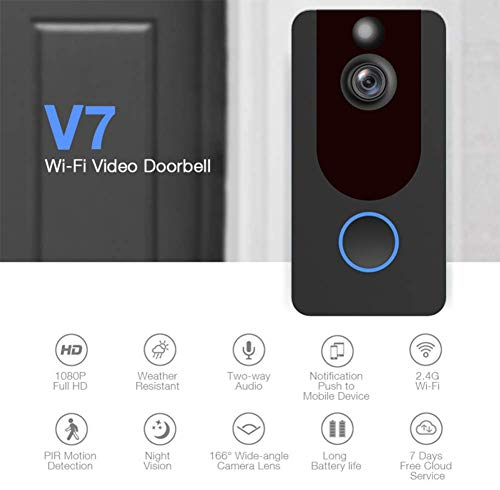 Horseshoe Visual Smart doorbell,720P HD WiFi Security Camera, Real-Time Two-Way Talk and Video, PIR Motion Detection (Include Indoor Chime, Battery)