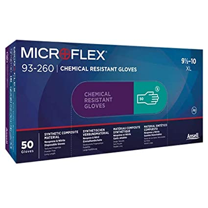pack of 50 Microflex 93-260 Nitrile and Neoprene Gloves Size Small Chemical Resistant Disposable