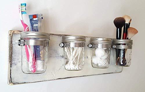 Farmhouse Bathroom Organizer by Out Back Craft Shack: Mason Jar Storage in Rustic Antique White by Out Back Craft Shack
