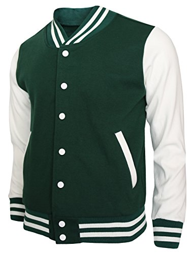 BCPOLO Baseball Jacket Varsity Baseball Cotton Jacket Letterman jacket 8 Colors-green XL US by BCPOLO