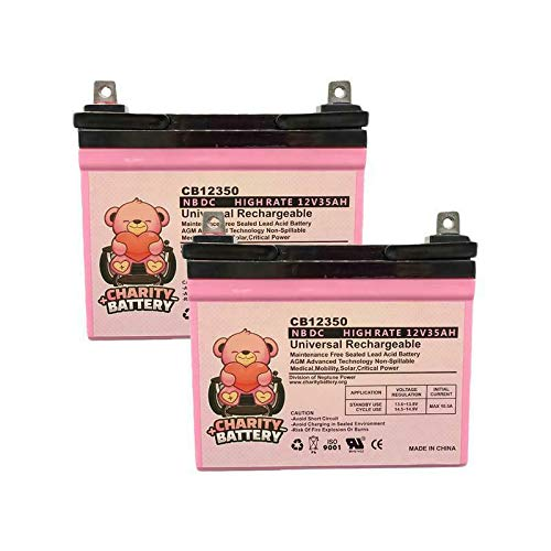 Fortress Scooters 1700FS 12V 35Ah SLA Battery CB12350 by Charity Battery - 2 pack (Fortress Scooters)