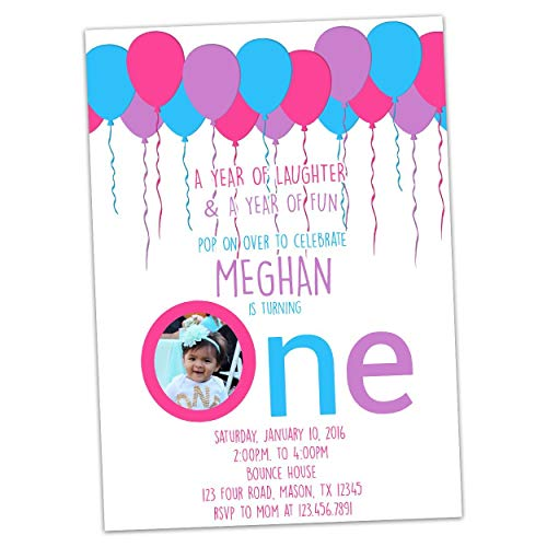 - Big One First Birthday Invitations Girl Pink Purple Teal 1st