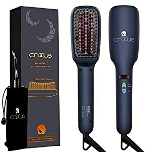 CNXUS MCH Ceramic Heating + LED Display + Adjustable Temperatures + Anti Scald Hair Straightening Brush, Portable Frizz-Free Hair Care Silky Straight Heated Comb