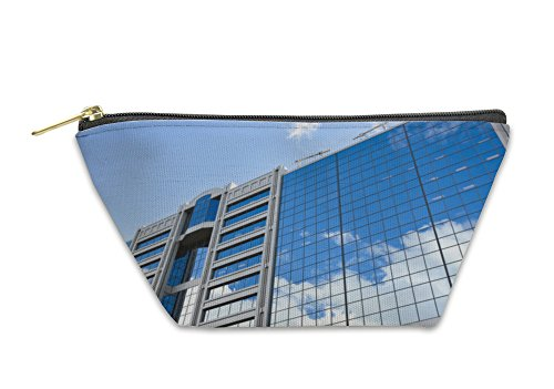 Gear New Accessory Zipper Pouch, The Shopping Center Reflecting The Clouds In Montreal, Large, - Center Shopping La Downtown