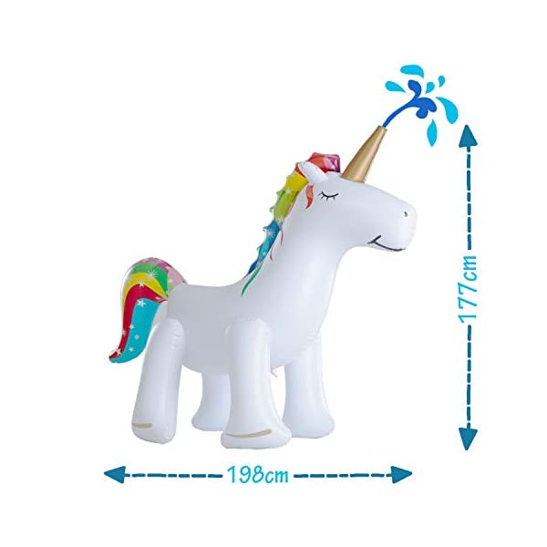 XGEAR Large Inflatable Unicorn Yard Sprinklers, Outdoor Sprinkle and Splash Play,Lawn Sprinkler, Summer Inflatable Water Spray Toy ,Fun Play Games for Kid Child Adult 4