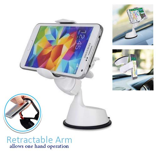 (Randconcept 2 in 1 Windshield Car Phone Clip Dashboard Phone Holder with Sticky Pad - Strong Suction Cup Cell Phone Mount Universal Fit for GPS iPhone Samsung Galaxy LG HTC Nexus & 3.8