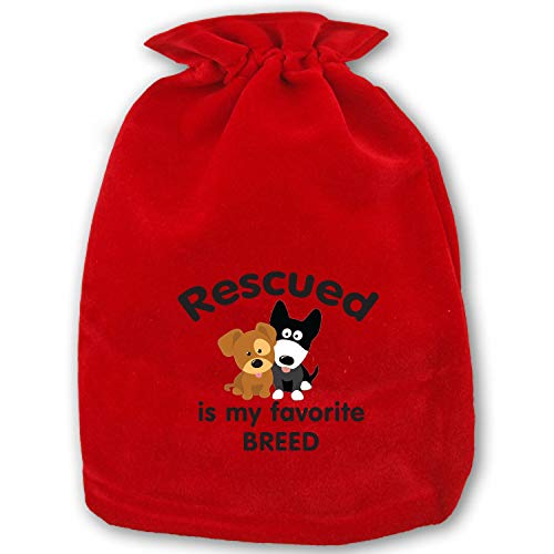 (Christmas Drawstring Gift Bags Small Rescued is My Favorite Breed Illustration Xmas Bag Mini Reusable Bags Bulk for Kids,Holiday Party Candy)