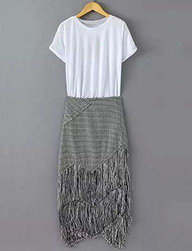 Joya de moda de manga corta cuello camiseta del blanco y traje de ...