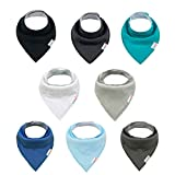 ALVABABY Baby Bandana Drool Bibs for Drooling and Teething Reusable Washable Absorbent 8 Pack Gift Set For Boys and Girls SKX10