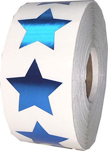 Metallic Blue Star Stickers, 1 Inch in Size, 500 Labels on a Roll