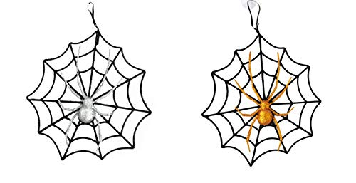 Black Duck Brand Set of 2 Halloween Webs with Glitter Spiders! Hanging 10