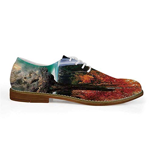 (Waterfall Stylish Leather Shoes,Deep Forest and Waterfall Runoff Autumn Fall Seasonal Forest Print for Men,US 11)