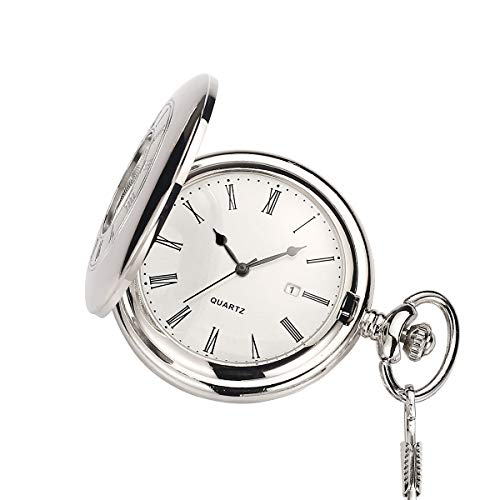 """Classic Brushed Satin Engravable Pocket Watch with 14"""" Chain Date Window, Seconds Sub-Dial"""