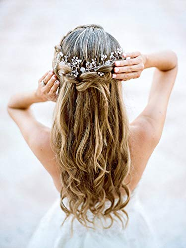 Artio Bride Wedding Hair Vine Accessories Flower Hair Piece Beaded Bridal Headpiece for Women HV039 (Silver)