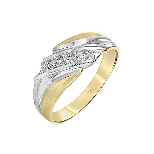 Brilliant Expressions 10K Two-Tone Gold 1/4 Cttw Conflict Free Diamond Diagonal Channel Men's Band (I-J Color, I2-I3 Clarity), Size 11 (Ring Tone Two Tiffany)