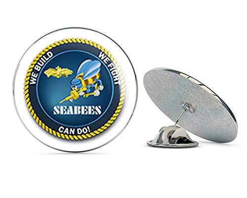 (US Navy WE Build, WE Fight.CAN DO! Seabee Military Veteran USA Pride Served Gift Metal 0.75
