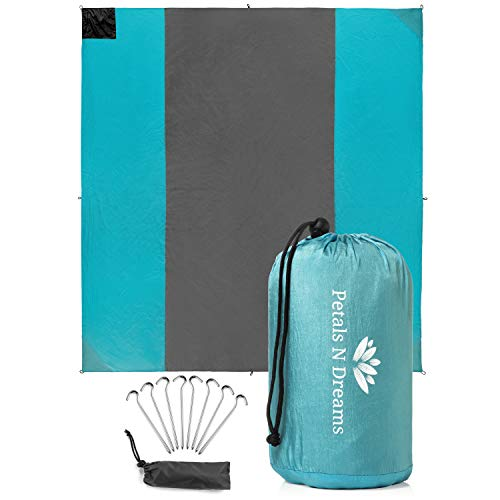 Sand Free Outdoor Beach Blanket | Quick Drying, Compact, 10 x 9.5 Mat | 4 Weightable Pockets, 8 Anchor Stakes and Zippered Valuables Pocket | Great for Beach, Picnics, Camping and Sporting Events