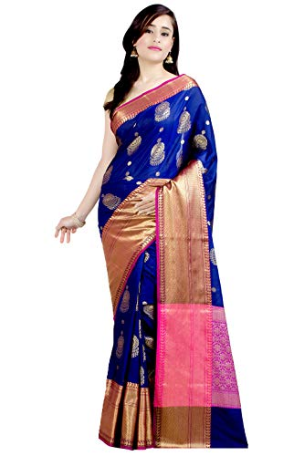 Chandrakala Women's Navy Blue Kataan Silk Blend Banarasi Saree,Free Size(1319NAV)