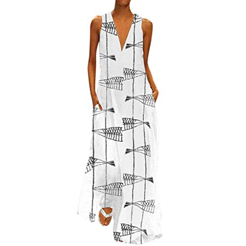 Women Dresses with Pockets Casual Summer Hosamtel Sexy V-Neck Fashion Print Beach Sleeveless Long Maxi Dress Sundress
