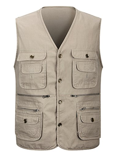 APTRO Men's 100% Cotton Outdoor Multi Pocket Vest Khaki US M (ASIN TAG 2XL)