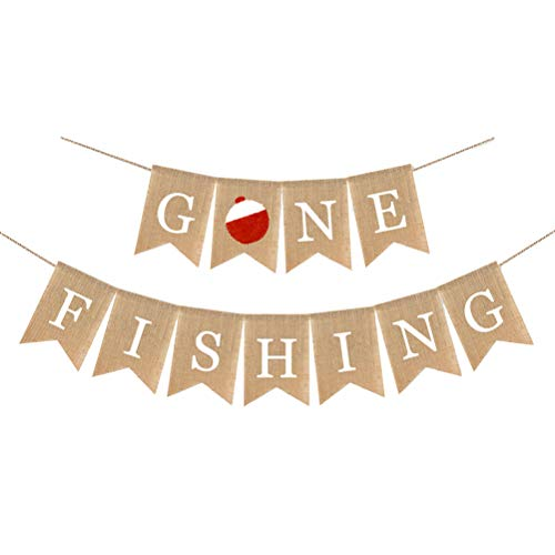 FUNZZY Fishing Themed Burlap Banner Summer Going Fishing Party Decoration