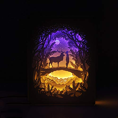 (EFGS 3D Paper Sculpture Lamp, Creative Stereo Remote Card-Cut Light Box Shadow Light Hot Romantic Atmosphere Halloween)