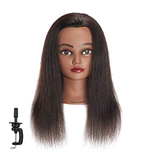 Traininghead 18-20'' Afro 100% Human Hair Mannequin Head Hairdresser Female Training Styling Head Cosmetology Manikin Head Doll Head with Clamp Stand (Natural Black) (Black Girl Best Head)