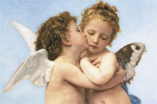 William Bouguereau (Le Premier Baiser, The First Kiss) Art Poster Print 36 x 24in