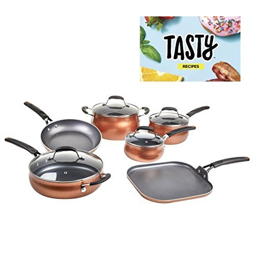 Tasty, Cookware Set Non-Stick – Diamond Reinforced – PFOA Free, 11 Pieces (Copper)
