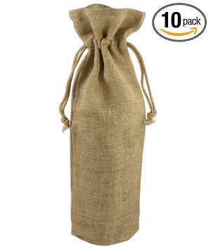 Jute Burlap Wine Bags, 10 Pack (Natural)