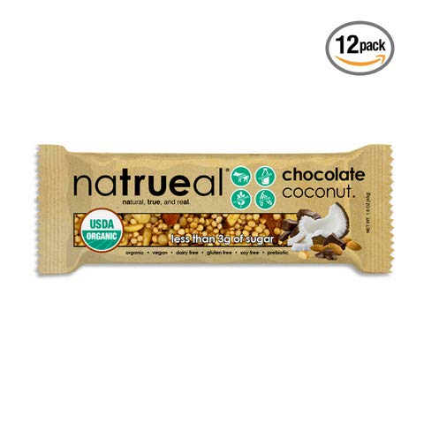 Natrueal Bars, Chocolate Coconut, Gluten Free, Vegan, 1.6 Ounce Bars, 12 Count