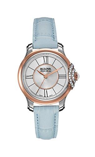 Bulova Accu Swiss 65R158 Ladies Accu Swiss Light Blue Leather Strap Watch