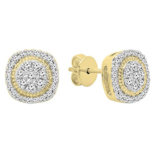 Dazzlingrock Collection 0.30 Carat (ctw) 10K Round White Diamond Ladies Cluster Stud Earrings 1/3 CT, Yellow Gold