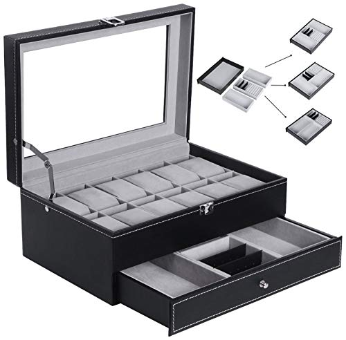 BEWISHOME Watch Box Organizer Case 12 Mens Jewelry Display Drawer w/Adjustable Tray Glass Top Black PU Leather SSH02B from BEWISHOME