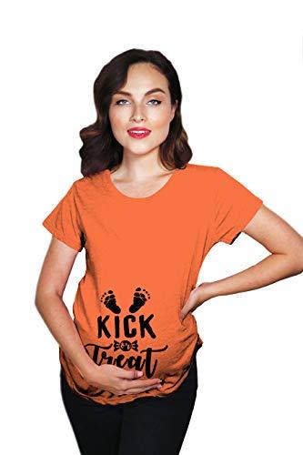 Maternity Kick Treat Tshirt Funny Halloween Pregnancy Announcment