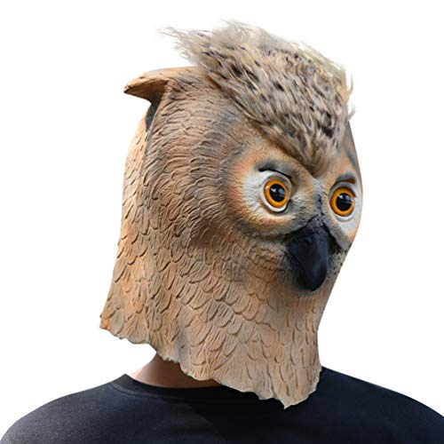 PARTY STORY Owl Mask Halloween Cosplay Costume Latex Animal Head Masks for Adults Party Decoration Props (Owl Head Mask)