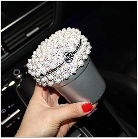 韓国パールダイヤモンドカー灰皿多目的車でパーソナリティ車の室内装飾車製品灰皿8×9センチ YCHAOYUE (Color : Silver)