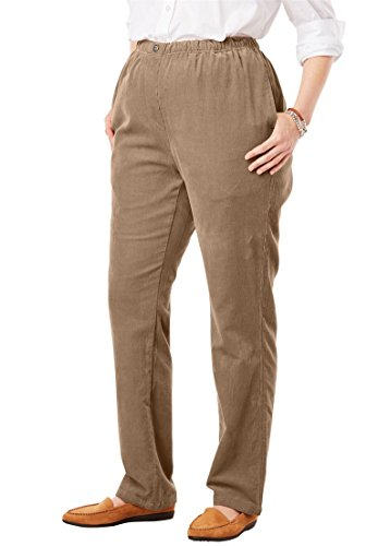 Pants 14 Wale Corduroy (Woman Within Plus Size Petite Comfort Waist Straight Leg Corduroy Pant - Brown Sugar, 14 WP)