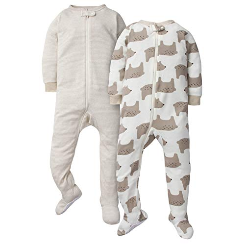 GERBER Baby Boys 2-Pack Footed Unionsuit, Bear, 12 Months