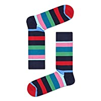 Happy Socks, Colorful Premium Cotton Classic Themed Socks for Men and Women, Stripe, Red & Gray, 9-11