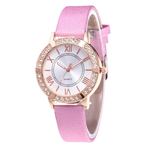Watches for Women Clearance, Fashion Women Crystal Unique Quartz Watches Casual Rhinestone Wrist Watch On Sale (Pink)