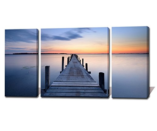 Noah Art-Contemporary Seascape Art Canvas Print, Wooden Bridge to Sunset Ocean Wall Art Landscapes Pictures Printing on Canvas, 3 Panel Stretched Beach Canvas Art Wall Hangings for Living Room