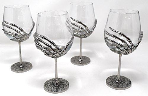 Four (4)-Piece Skelton Hand Blown Glass Wine Goblets Set