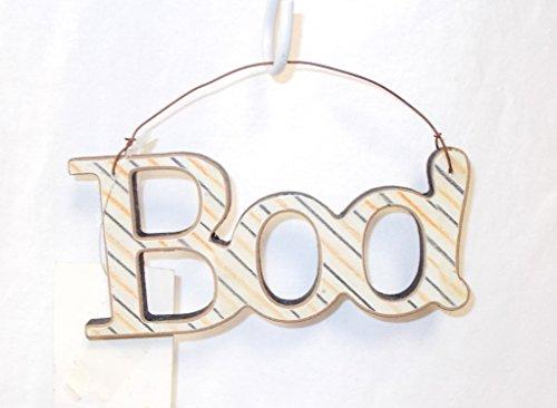 (K & K Striped Boo Halloween Sign Decor 5.5')