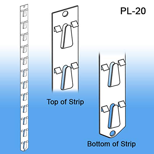"Posi-Lok Clip Strip Display Strip, 22-3/4"" Long, 12 Hooks, PL-20, Pack of 10"