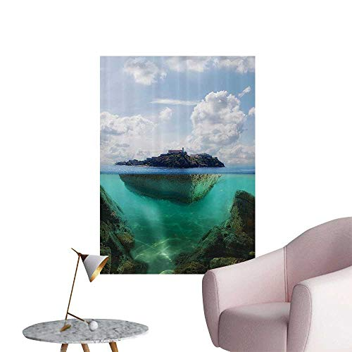 (Wall Stickers for Living Room Floating Rock and Lighthouse in Crystal Clear Atlantic Water Mist Nature Phot Vinyl Wall Stickers Print,16